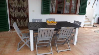 the dining area under the covered terrace